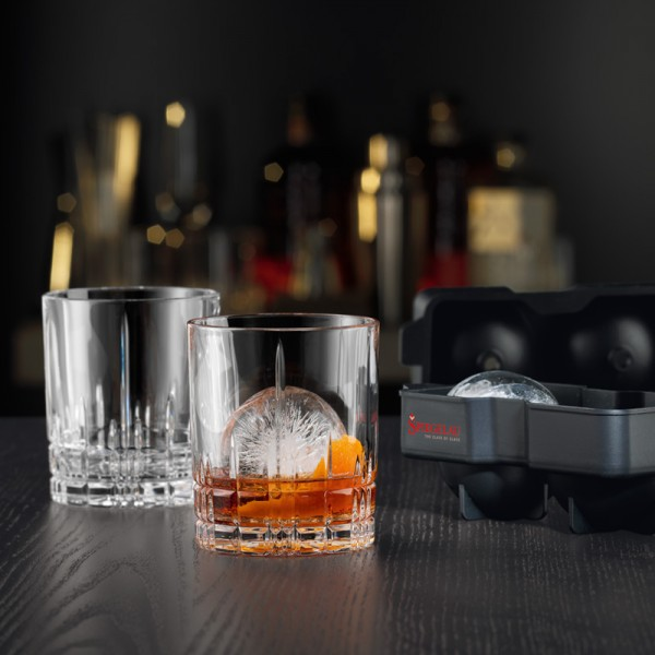 Spiegelau Perfect Ice Ball Set: 2 D.O.F. glasses + tray for 2 ice balls