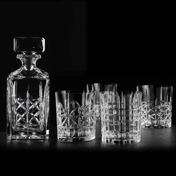 Nachtmann Highland Whisky-Set, Decanter + 4 tumblers with mixed cut decoration